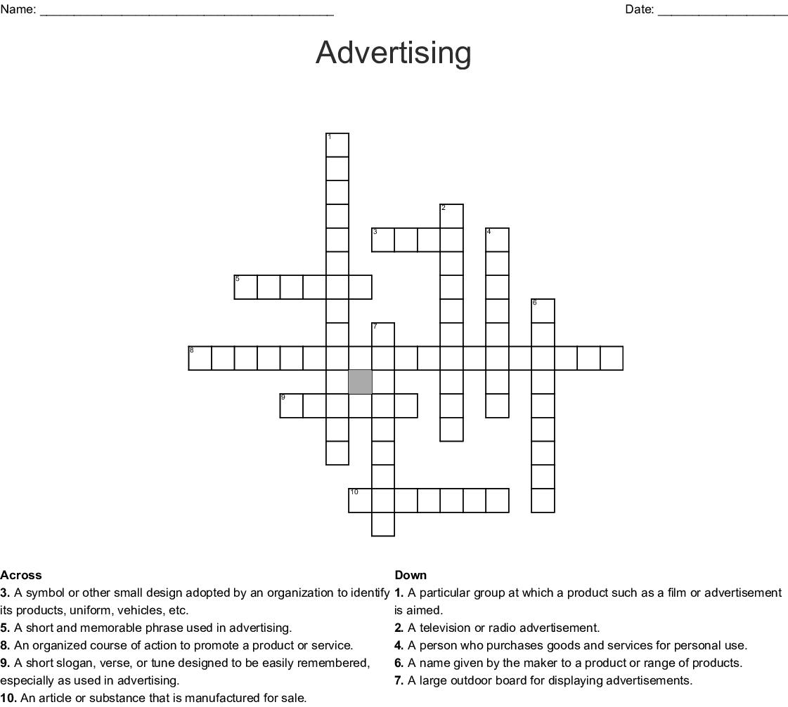 Advertising Crossword Wordmint