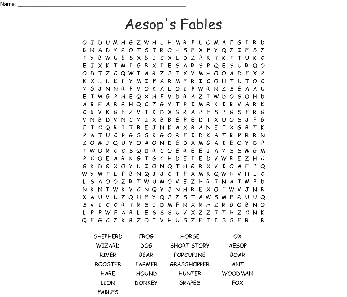 Aesop's Fables Word Search - WordMint