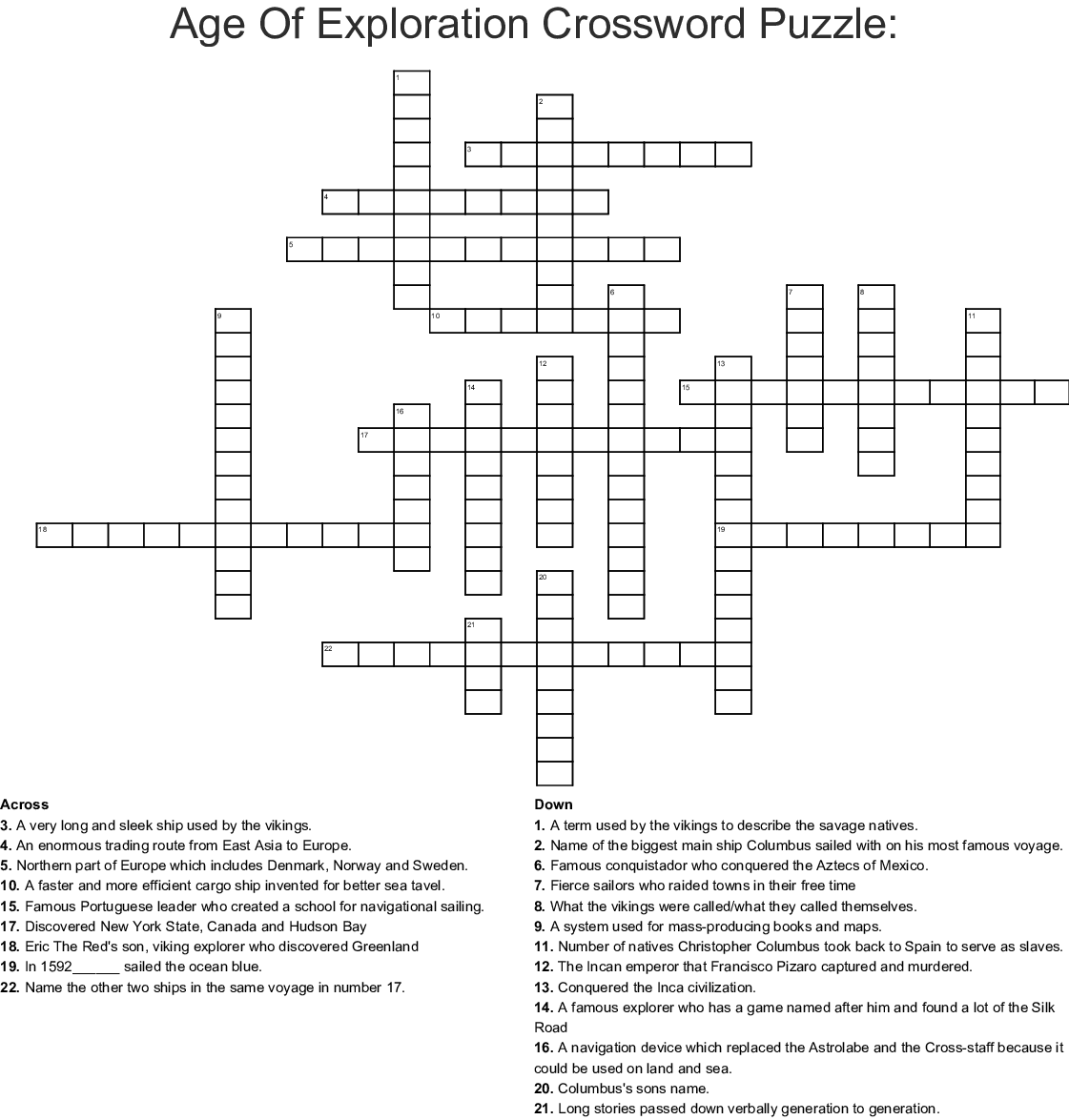 Age Of Exploration Crossword Puzzle: Crossword - WordMint
