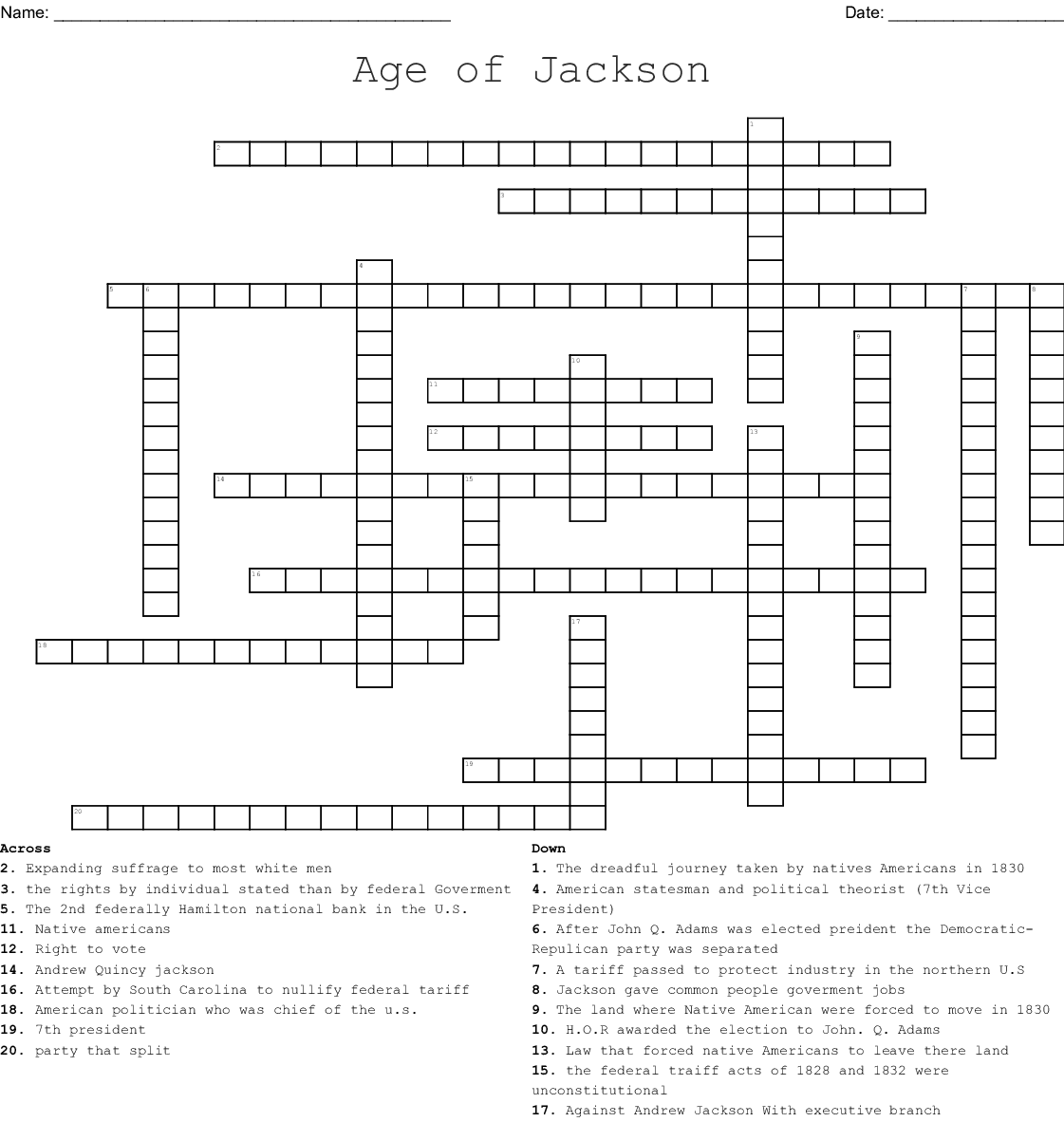 The Age Of Jackson Crossword - WordMint