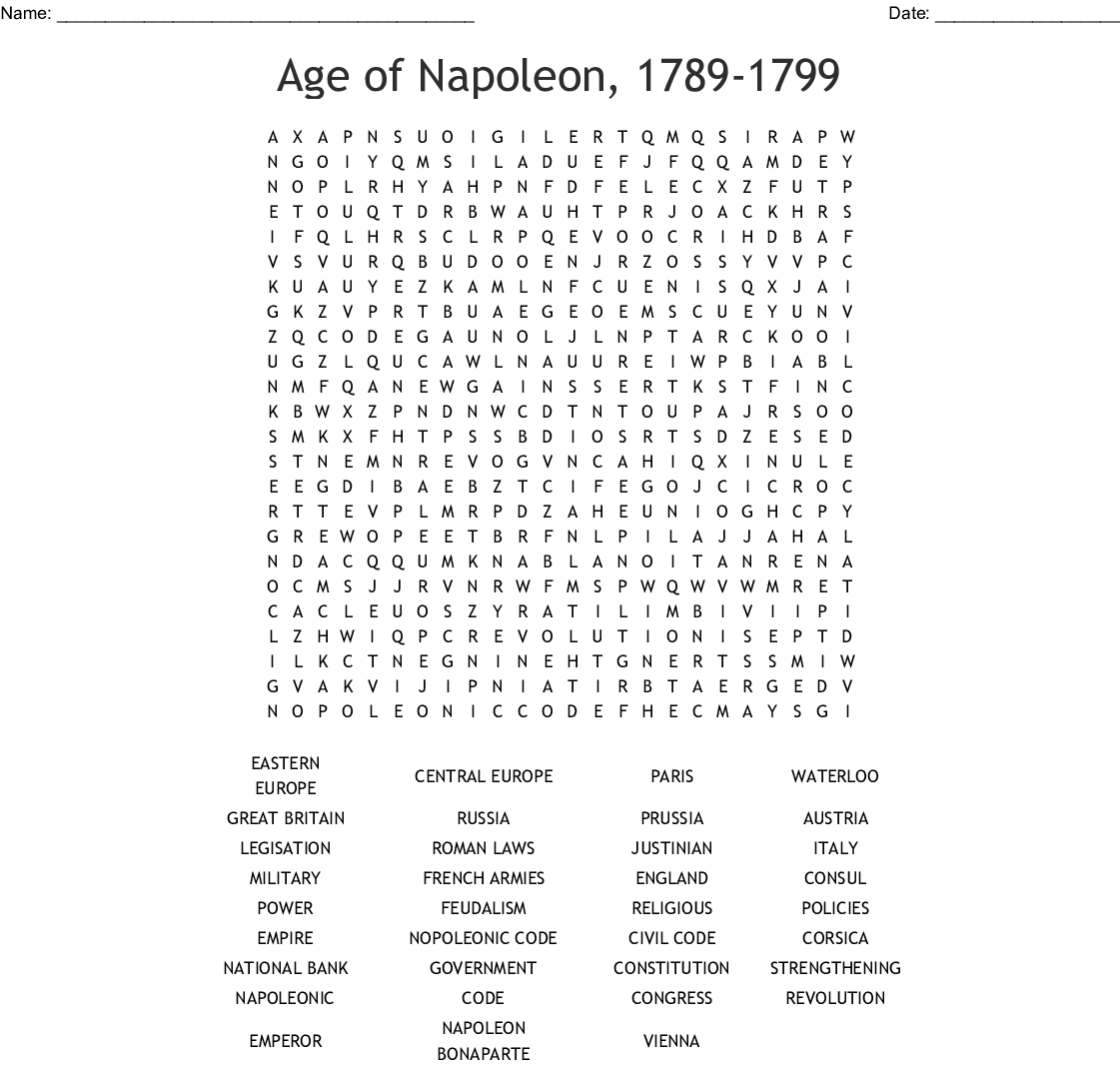 Age of Napoleon, 1789-1799 Word Search - WordMint