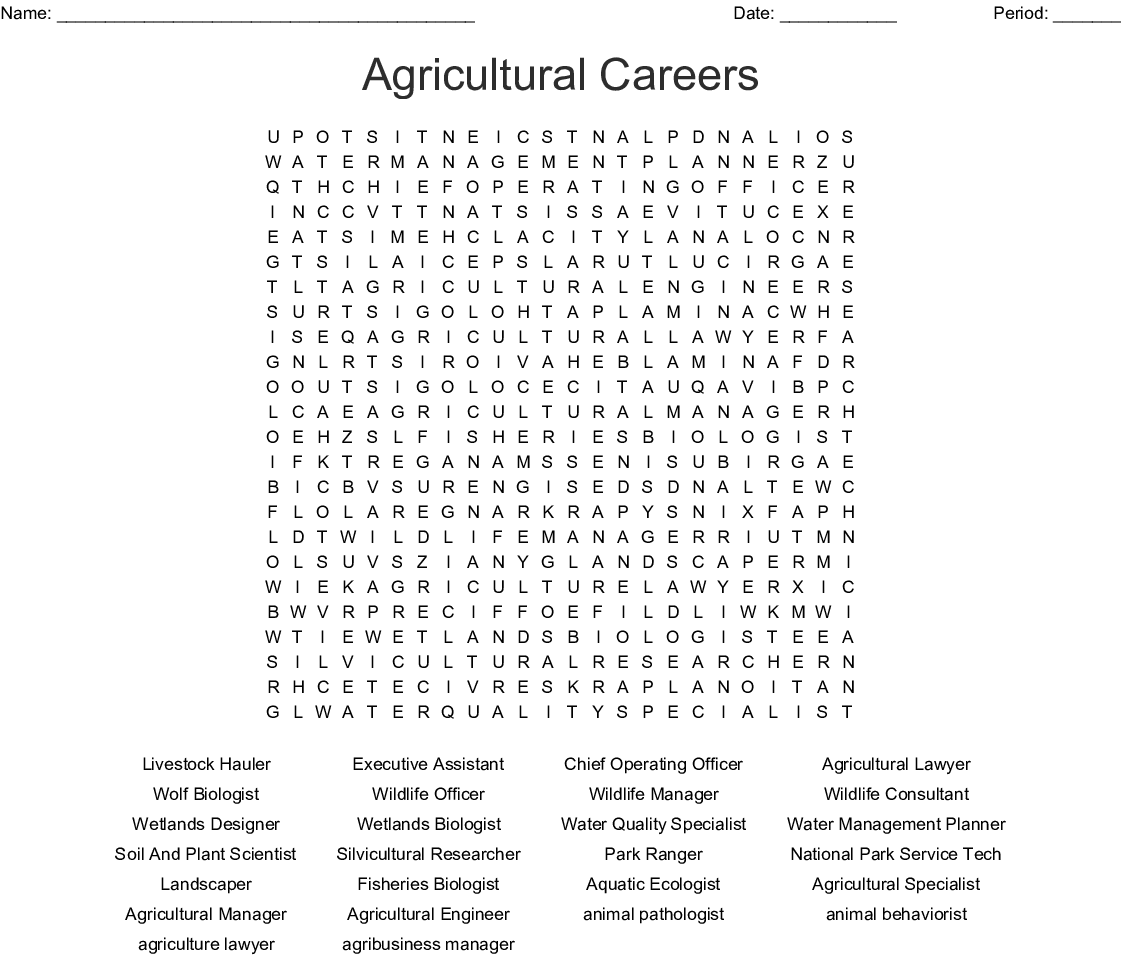 Agriculture Careers Word Search Wordmint