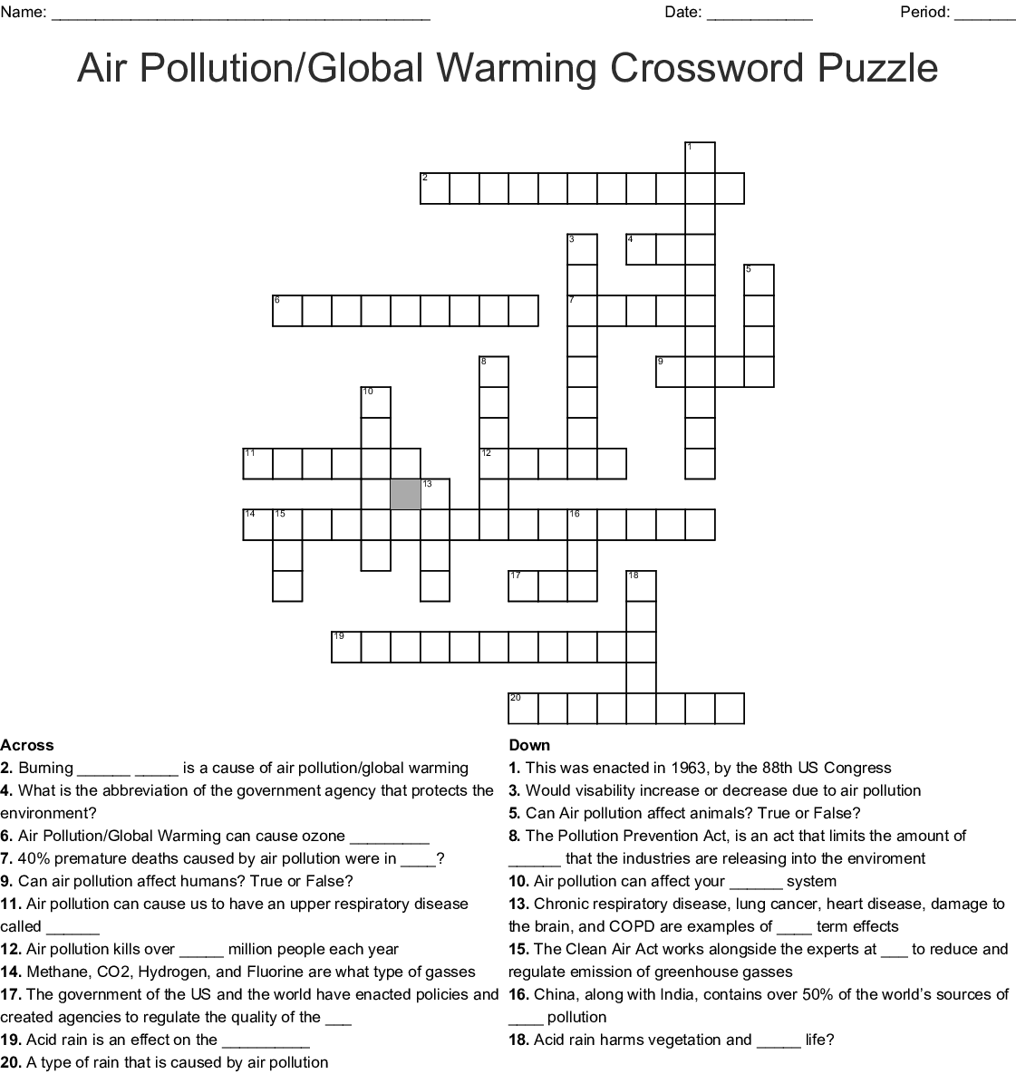 Air Pollution/Global Warming Crossword Puzzle - WordMint
