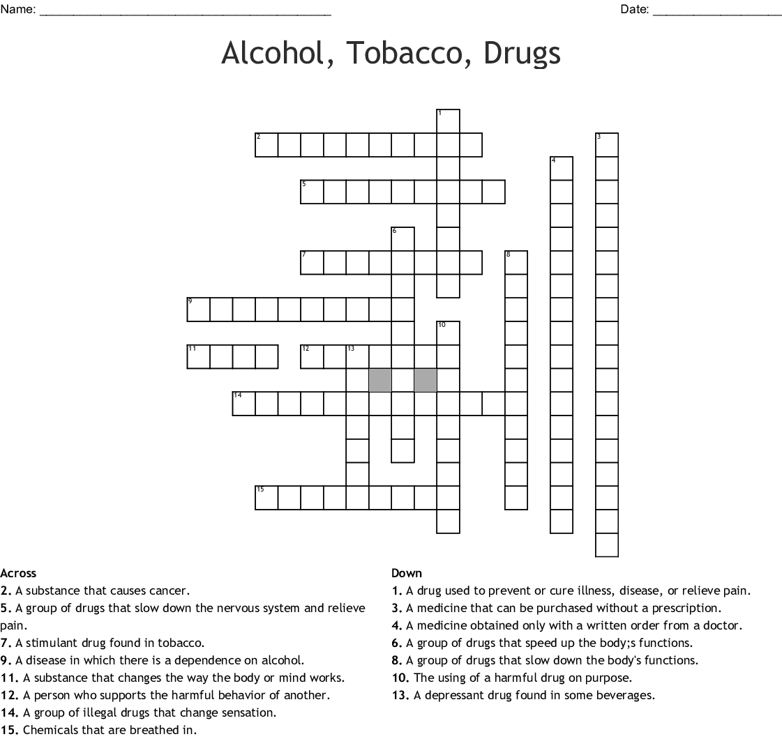 Alcohol Tobacco Drugs Crossword Wordmint