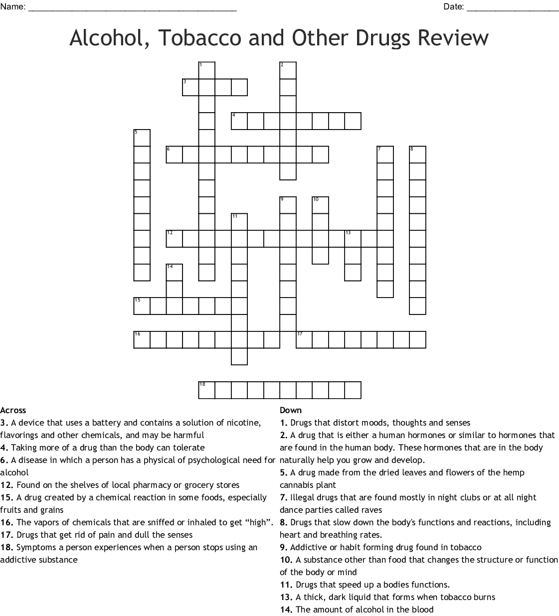 Alcohol Tobacco Drugs Crossword Wordmint