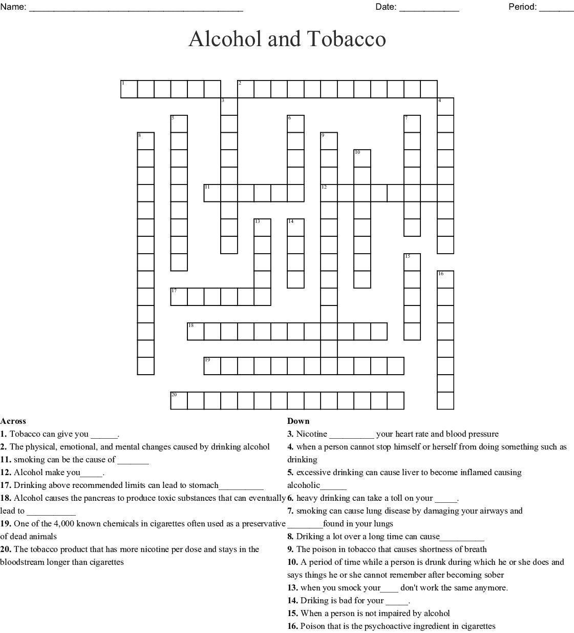 Smoking Crossword Wordmint