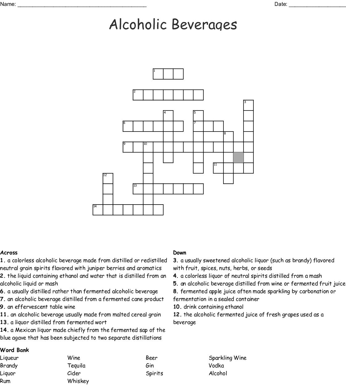 Alcoholic Beverages Crossword Wordmint