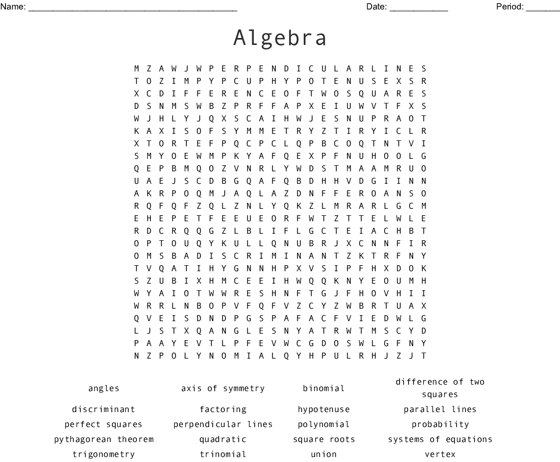 Algebra 2 Word Search - WordMint