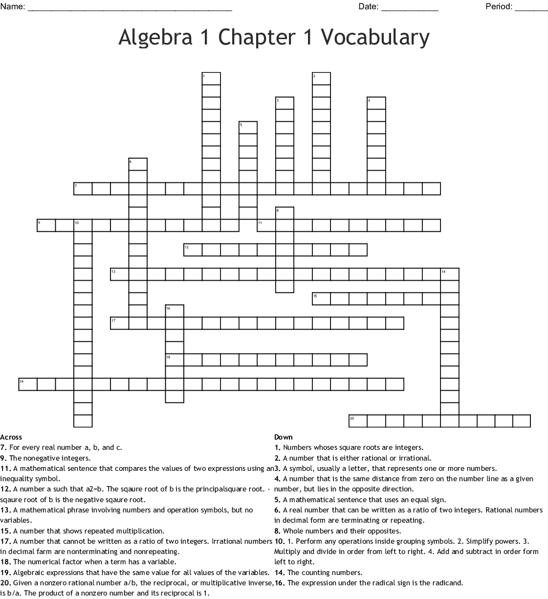 Algebra 1 Chapter 1 Vocabulary Crossword - WordMint