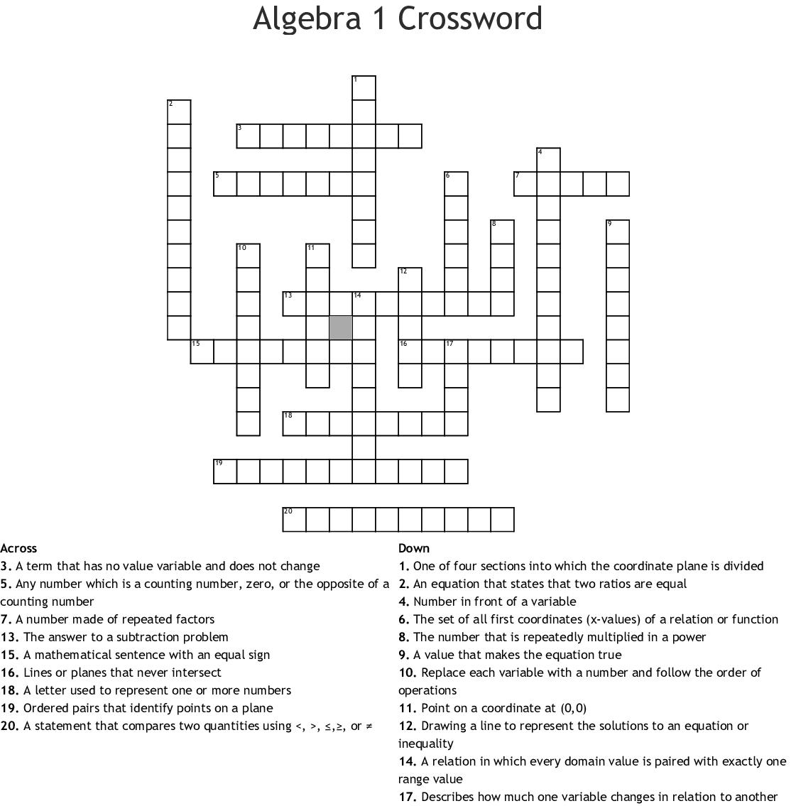 8th Grade Math Crossword - WordMint