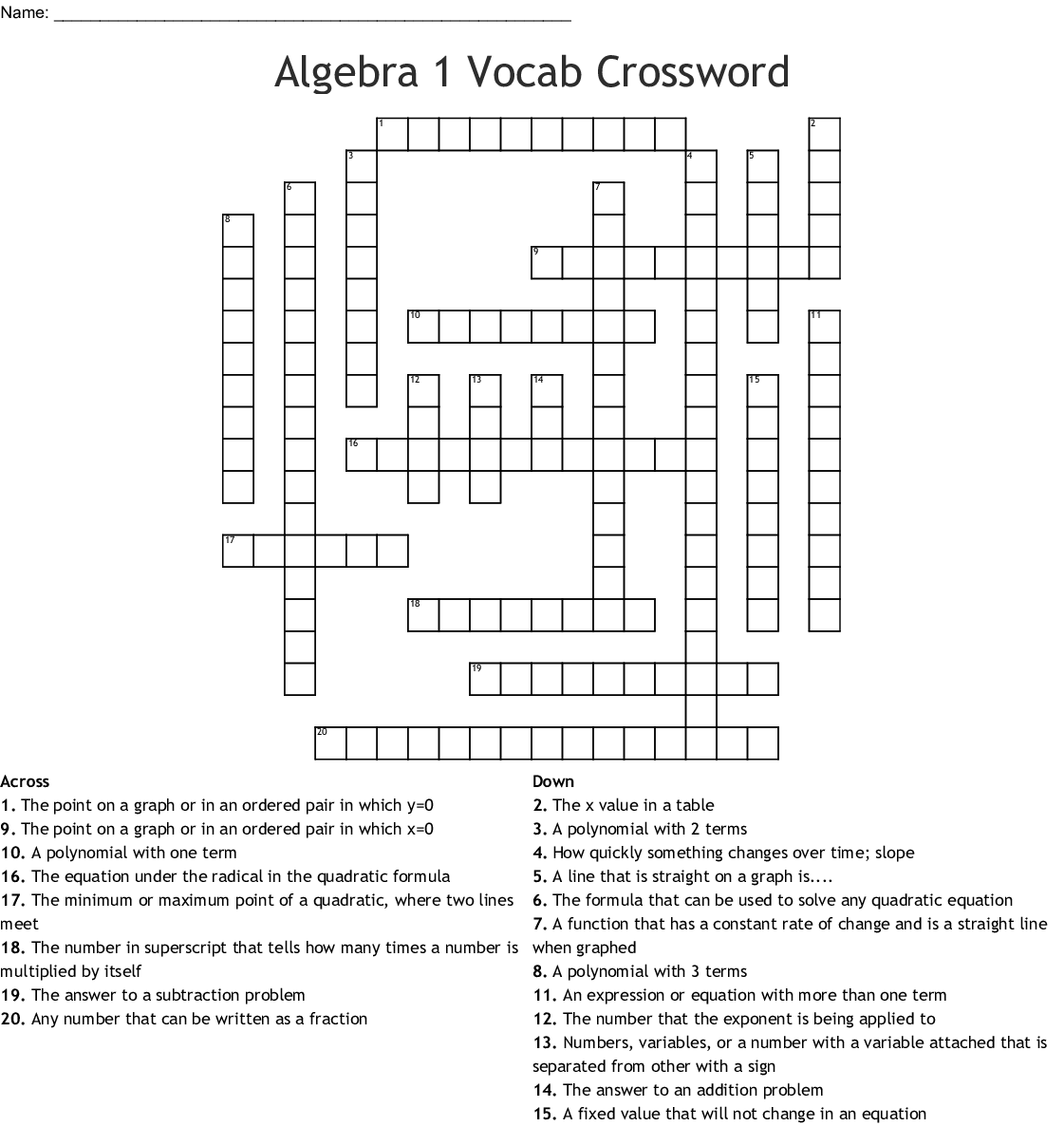 Algebra 1 Vocab Crossword - WordMint