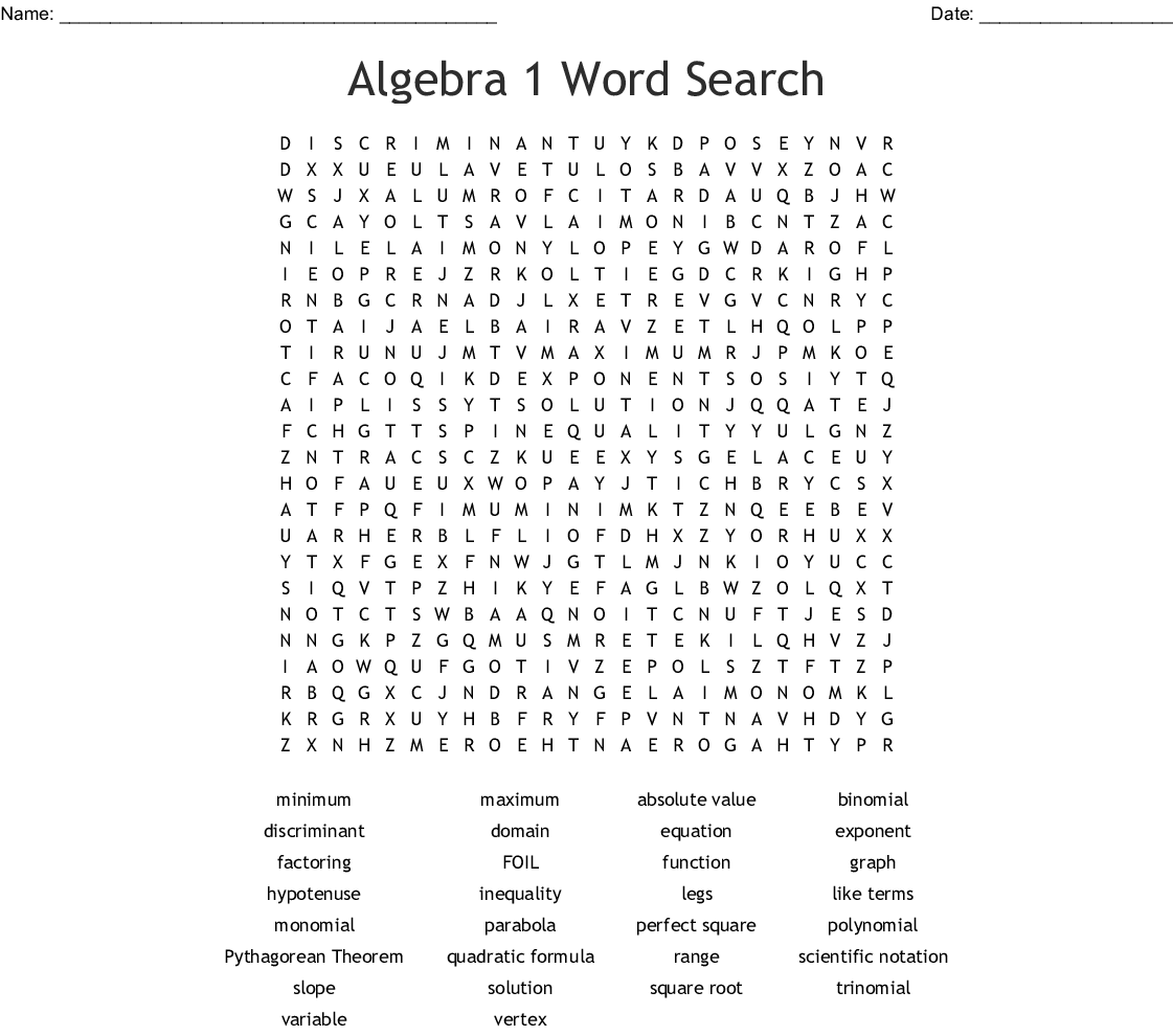 Algebra 2 Word Search - WordMint