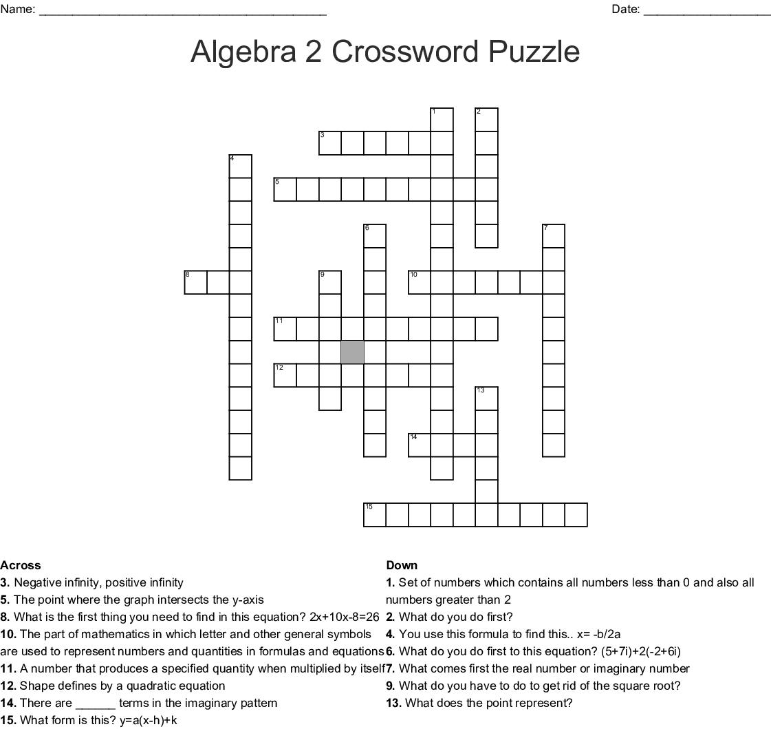 Algebra 2 Crossword Puzzle - WordMint