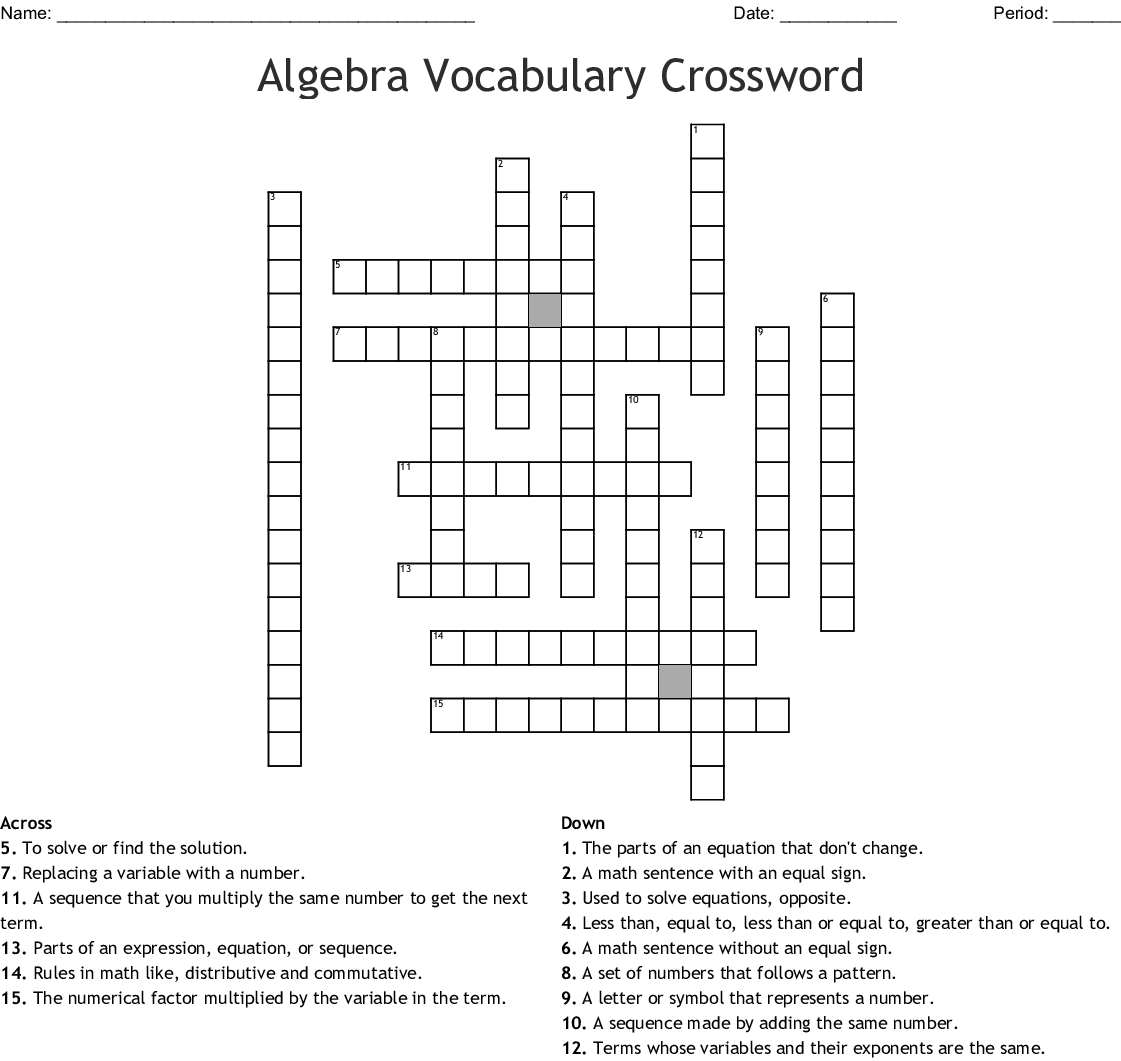 Algebra Vocabulary Crossword - WordMint