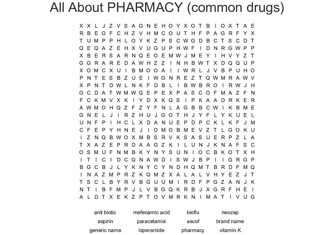 All About PHARMACY (common Drugs) Word Search
