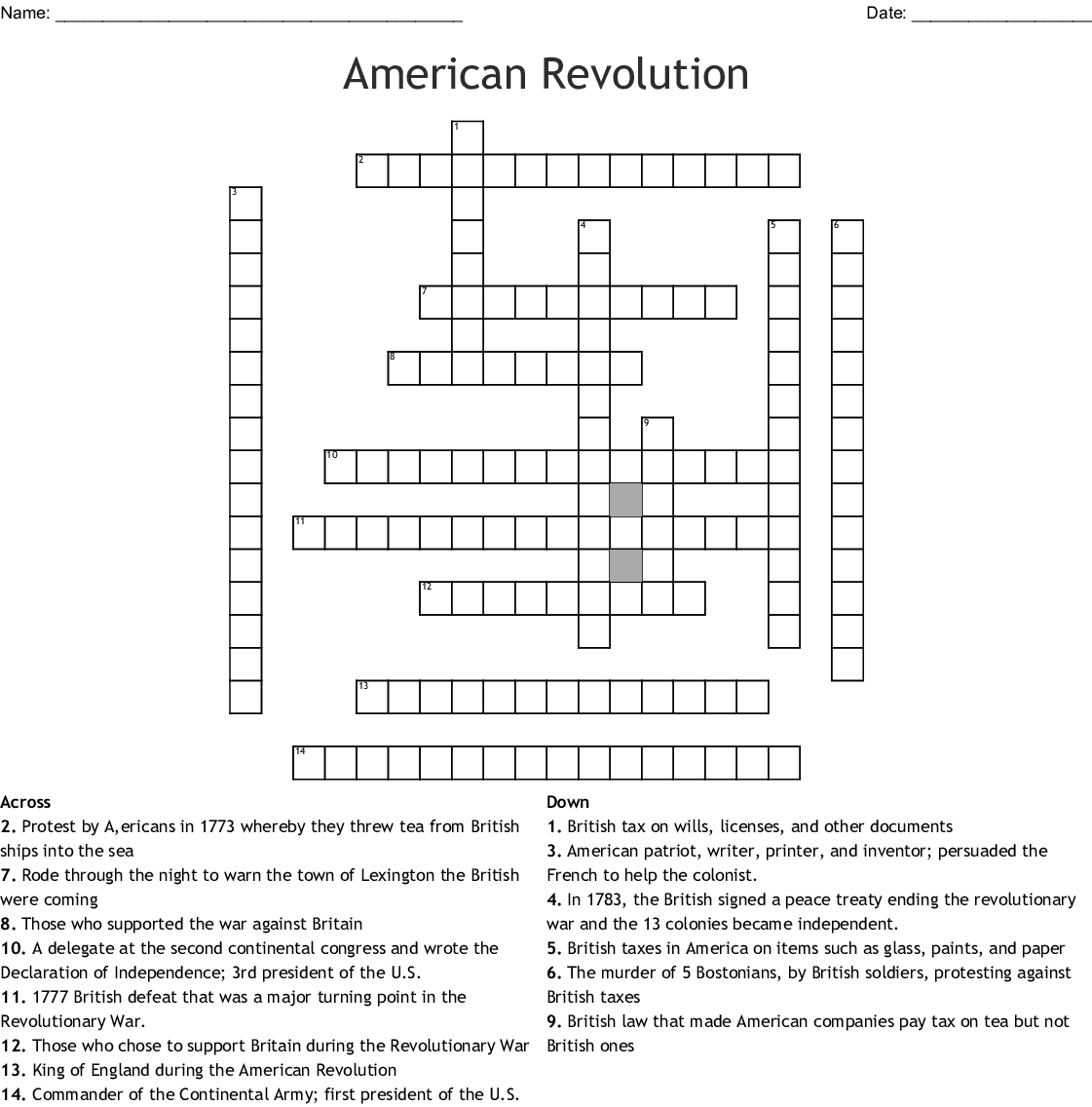 Crossword Usa Studies Weekly 5th Grade Week 4 Answer Key ...