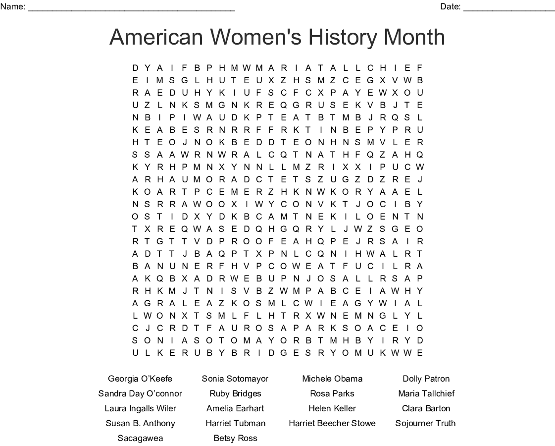 photo relating to Black History Word Search Printable called Womens Record Wordsearch - WordMint