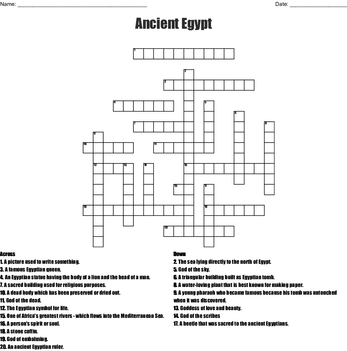 Ancient Egyptian terms Crossword - WordMint