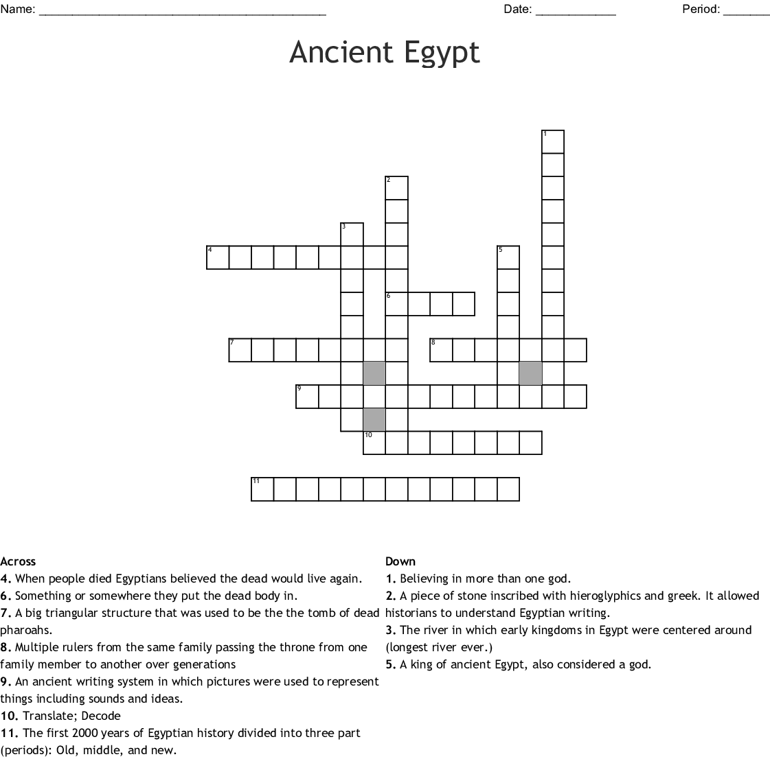 Egyptian Civilization Crossword - WordMint