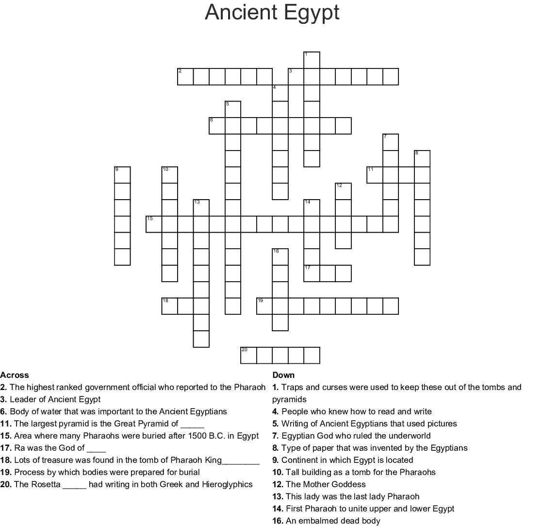 Egyptian Word Slueth Word Search - WordMint
