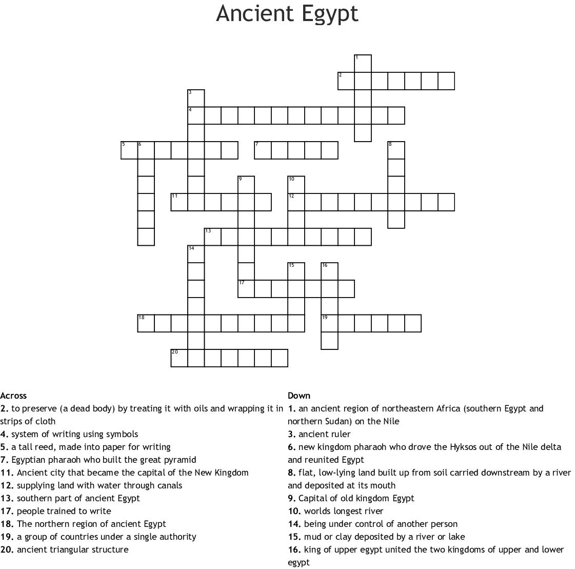 Ancient Egypt Crossword Puzzle - WordMint