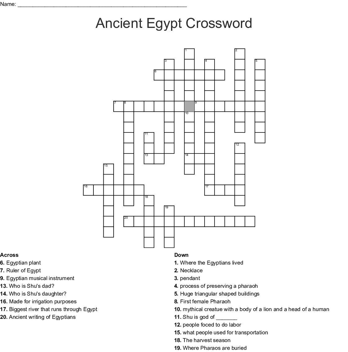 egypt project crossword puzzle - WordMint