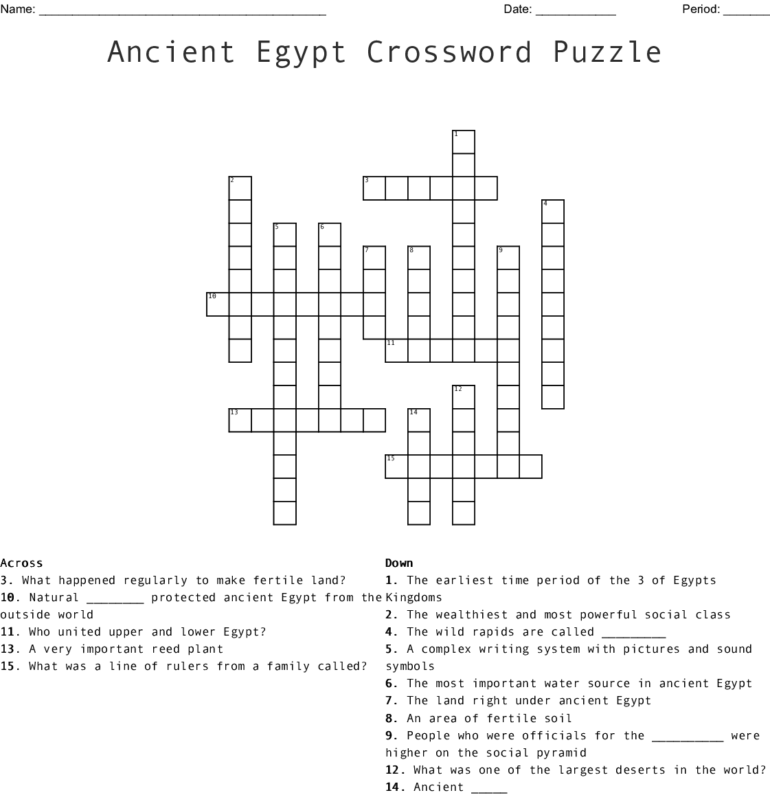 Geography of Ancient Egypt Crossword - WordMint