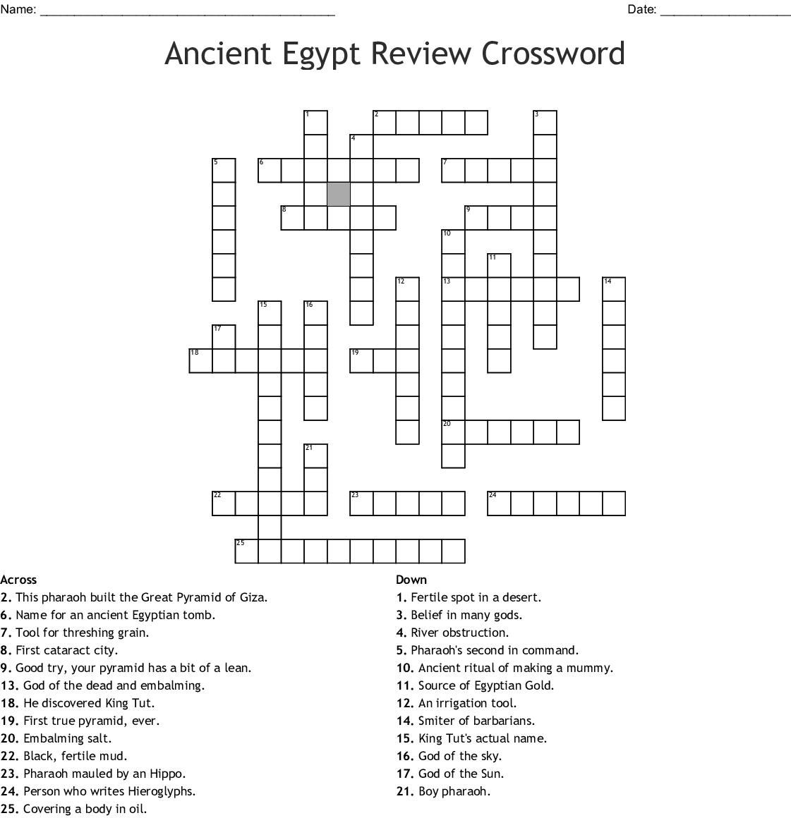 Ancient Egypt Crossword - WordMint