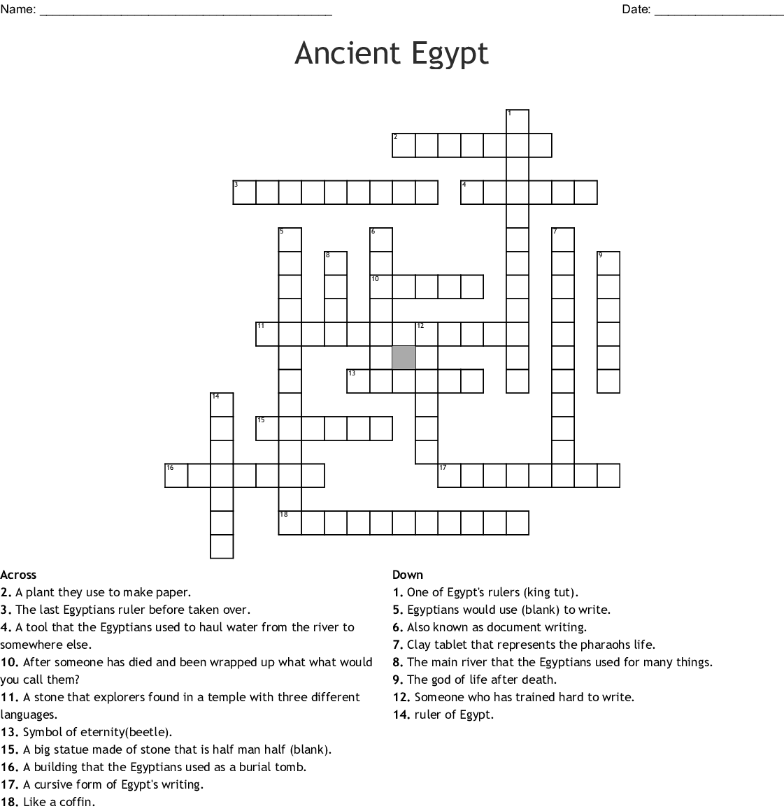 Ancient Egypt Crossword Puzzle - WordMint