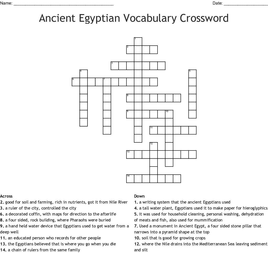 Egyptian Civilization Crossword - WordMint