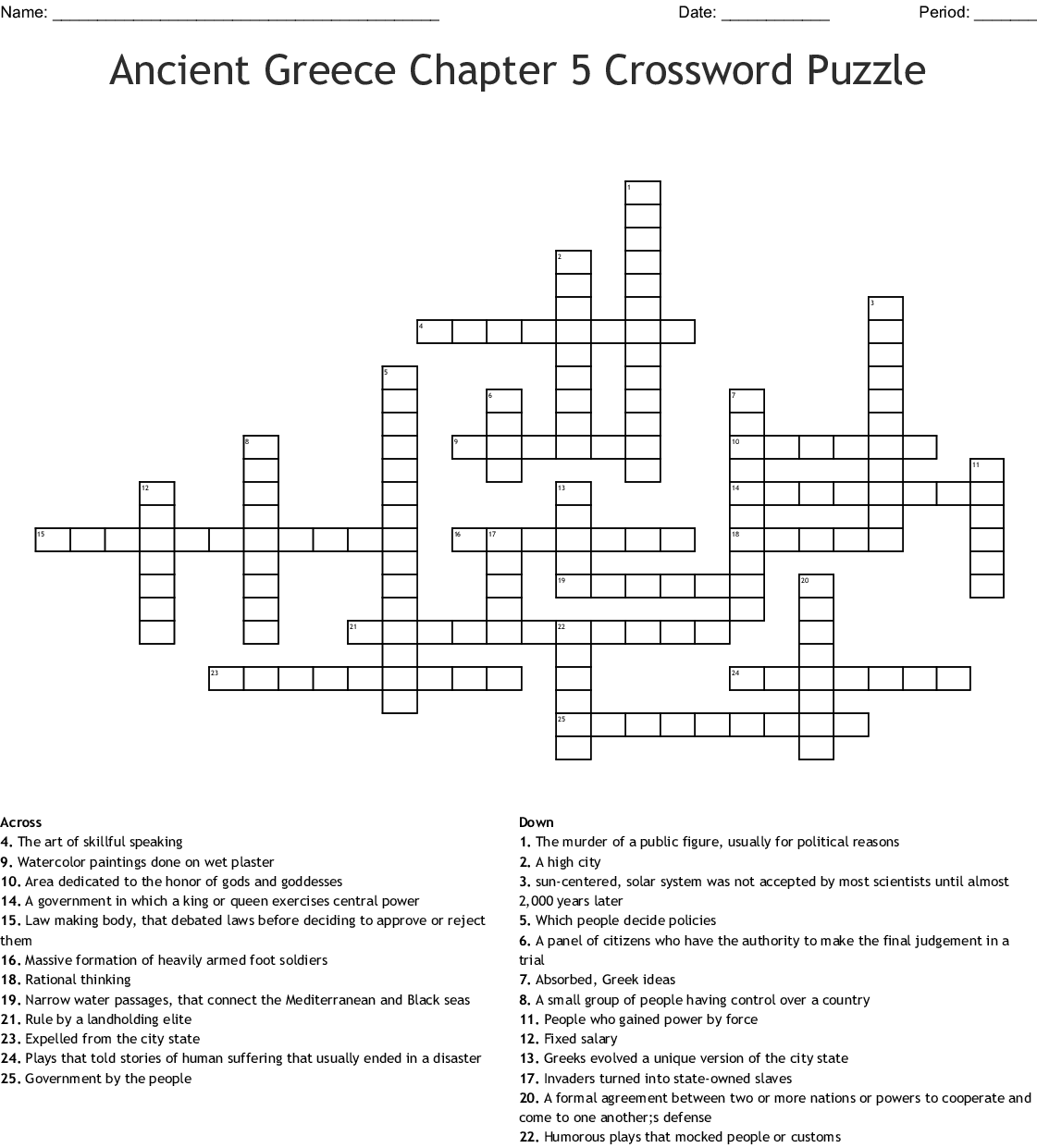 Ancient Greece Vocabulary Crossword - WordMint
