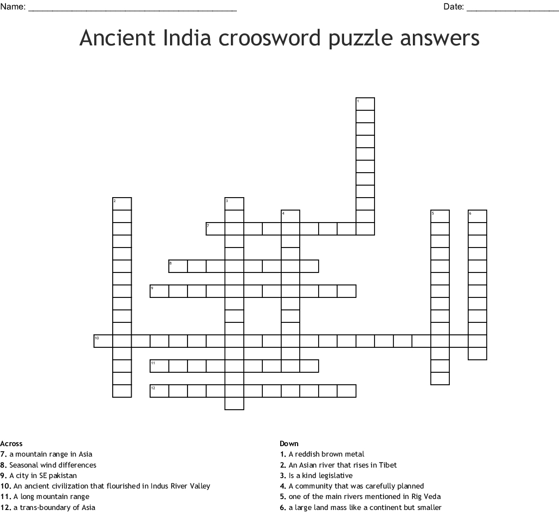 Ancient India Croosword Puzzle Answers Crossword Wordmint
