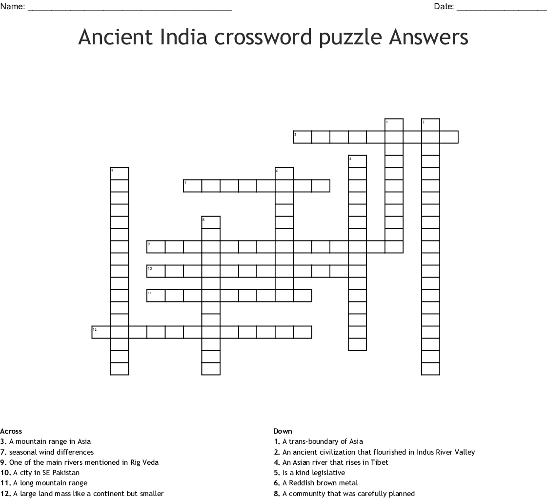Ancient India Crossword Puzzle Answers Wordmint