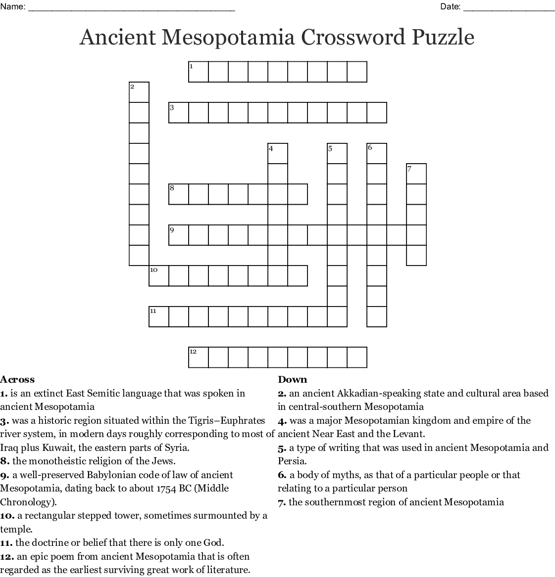 Mesopotamia Crossword Project Menu - WordMint