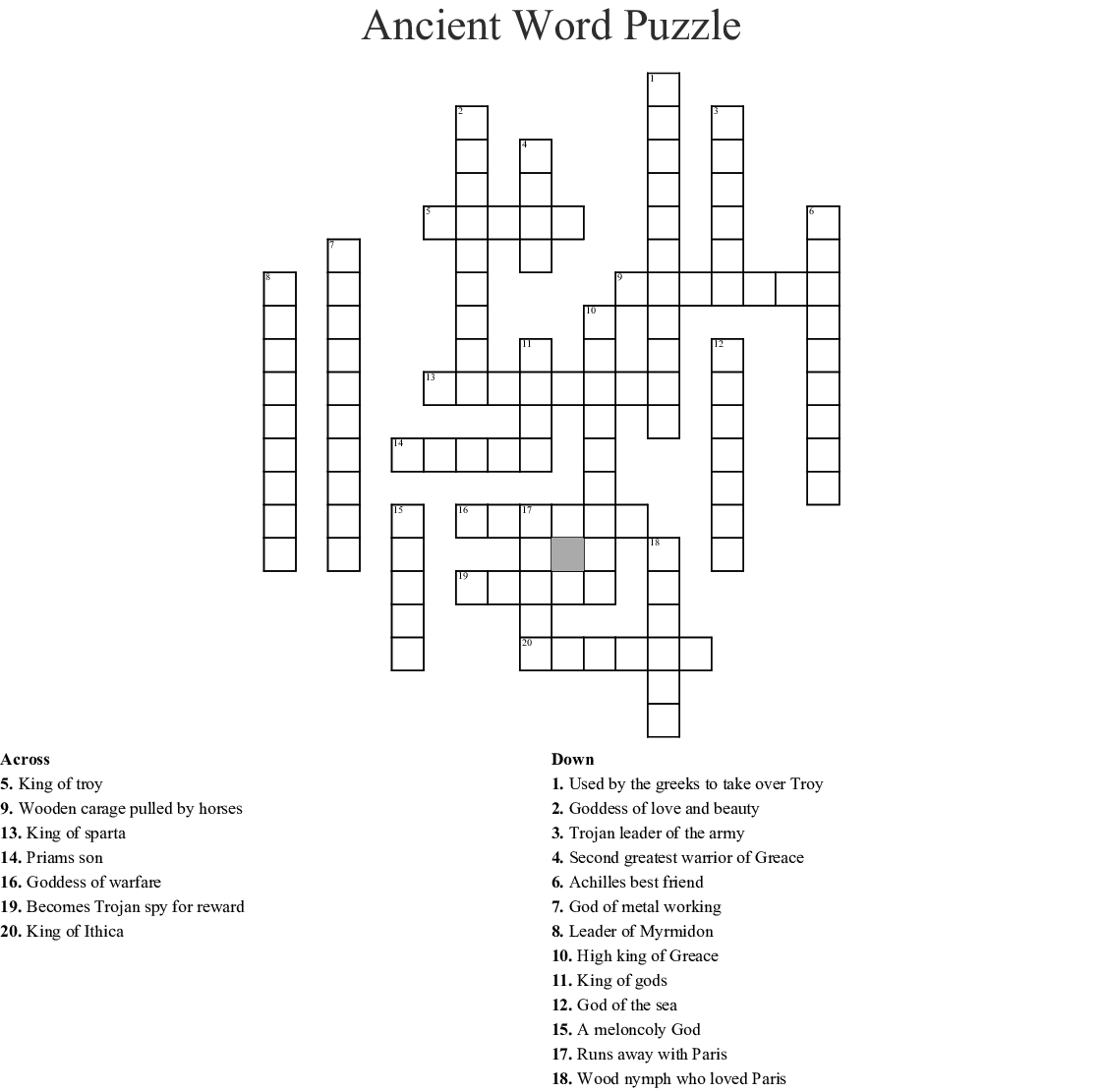The Trojan War Word Search - WordMint