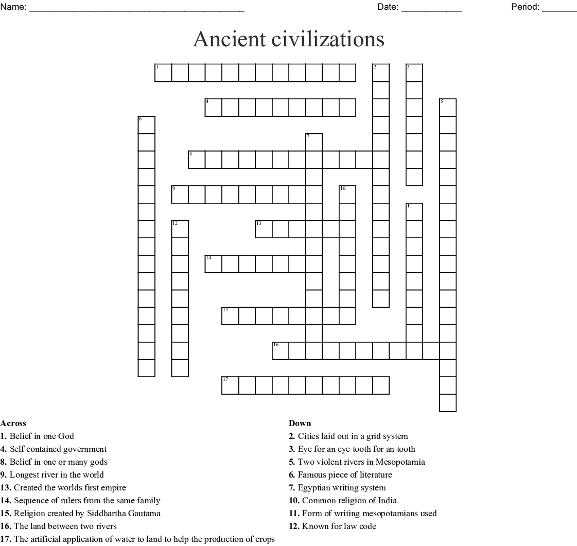 River Valley Civilizations Crossword - WordMint