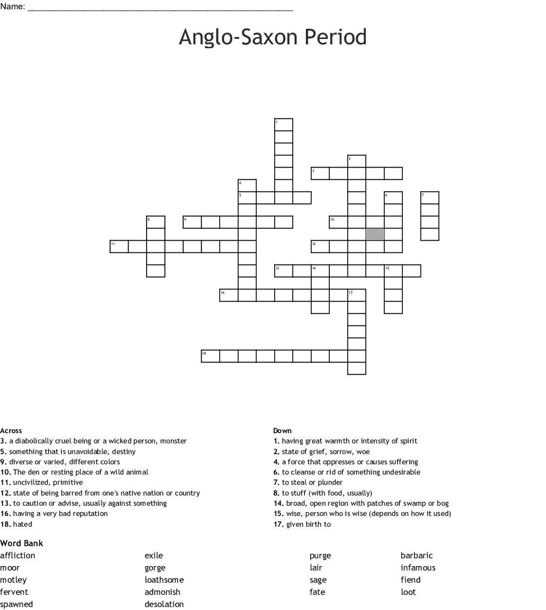 Anglo Saxon Period Crossword Wordmint