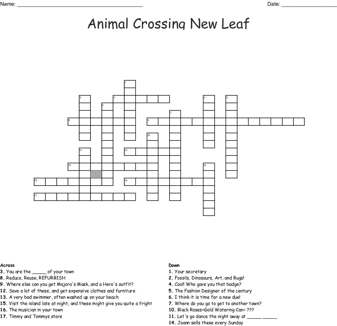 Animal Crossing New Leaf Crossword Wordmint