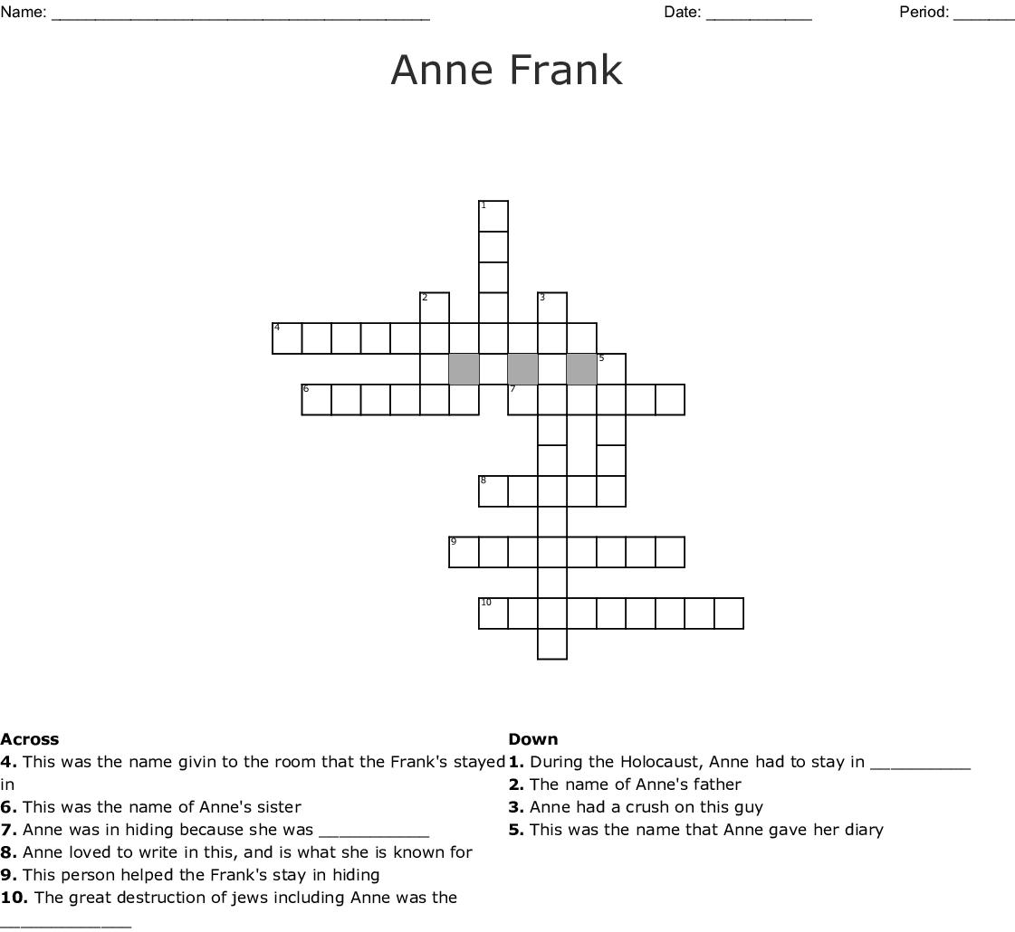 DIARY OF ANNE FRANK CROSSWORD - WordMint