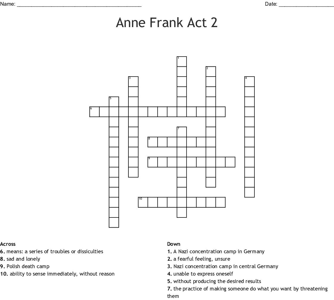 Anne Frank Act 2 Crossword - WordMint