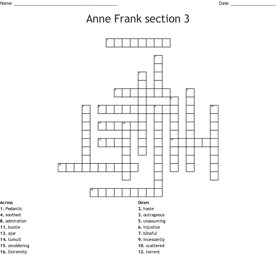 Anne Frank section 3 Crossword - WordMint