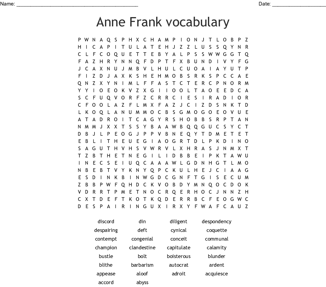 Chapter One Vocabulary Word Search - WordMint