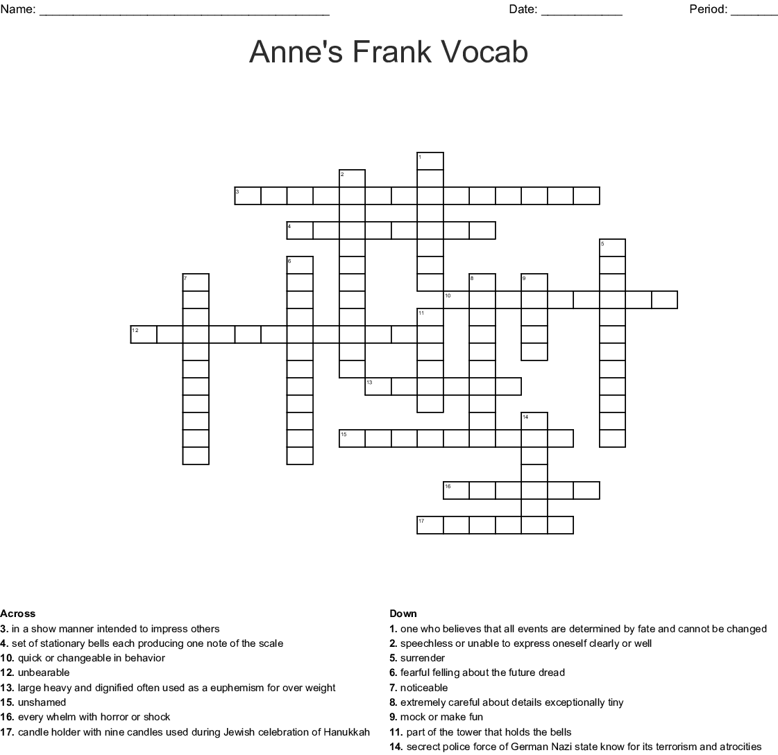 The Diary of Anne Frank Crossword - WordMint