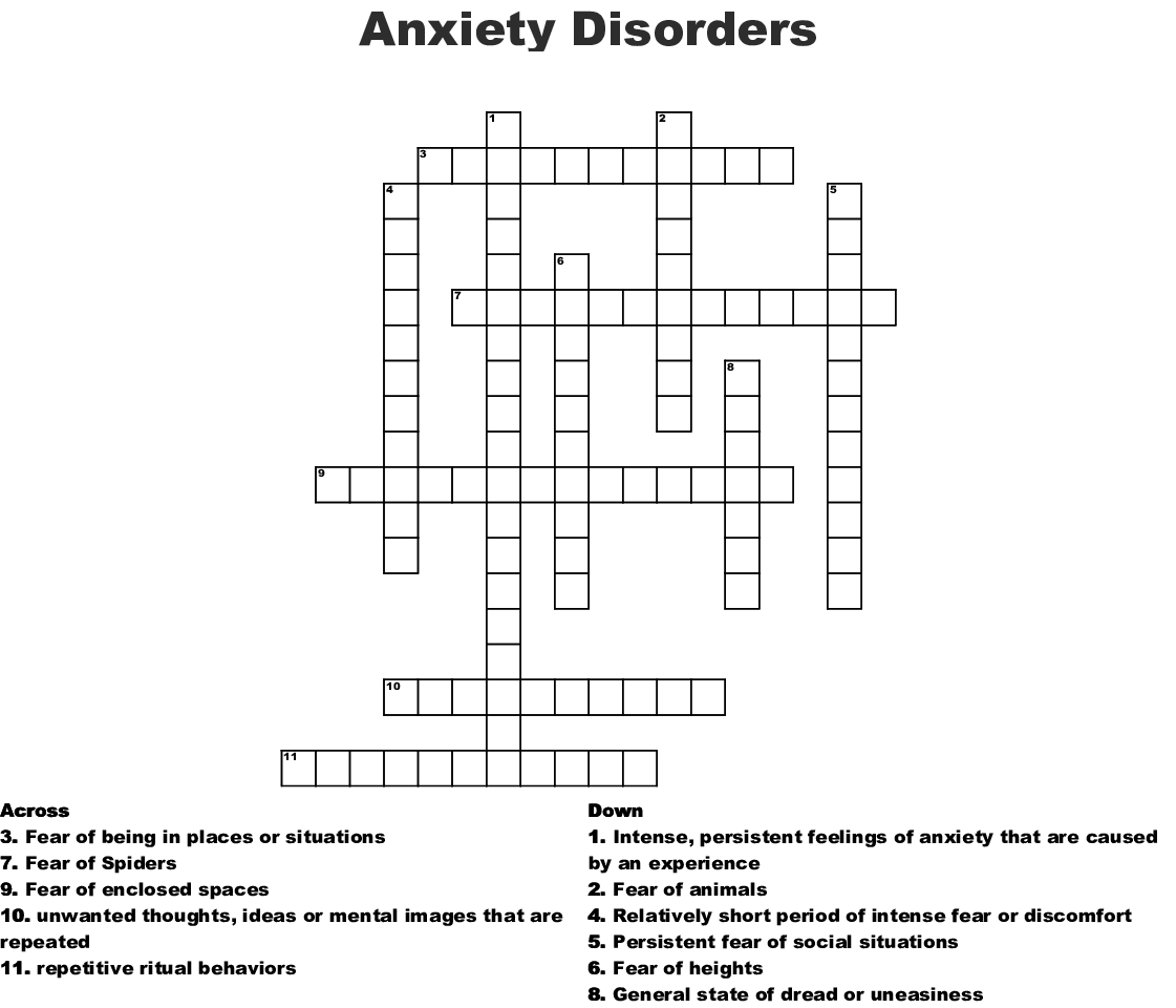 Anxiety Disorders Crossword Wordmint