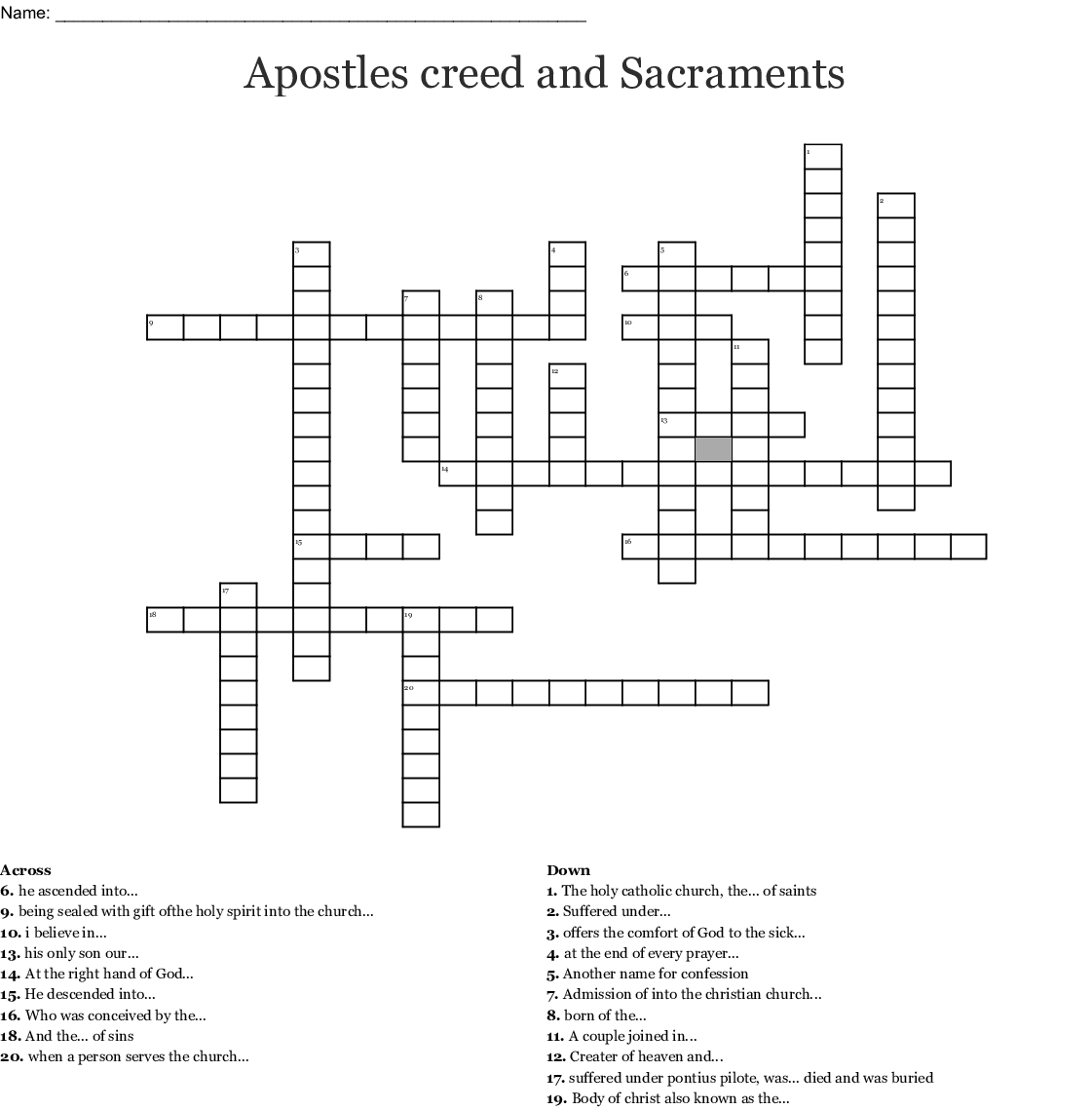 Apostles Creed Word Search - WordMint
