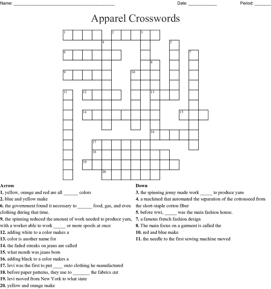 Fashion Design Crossword Wordmint