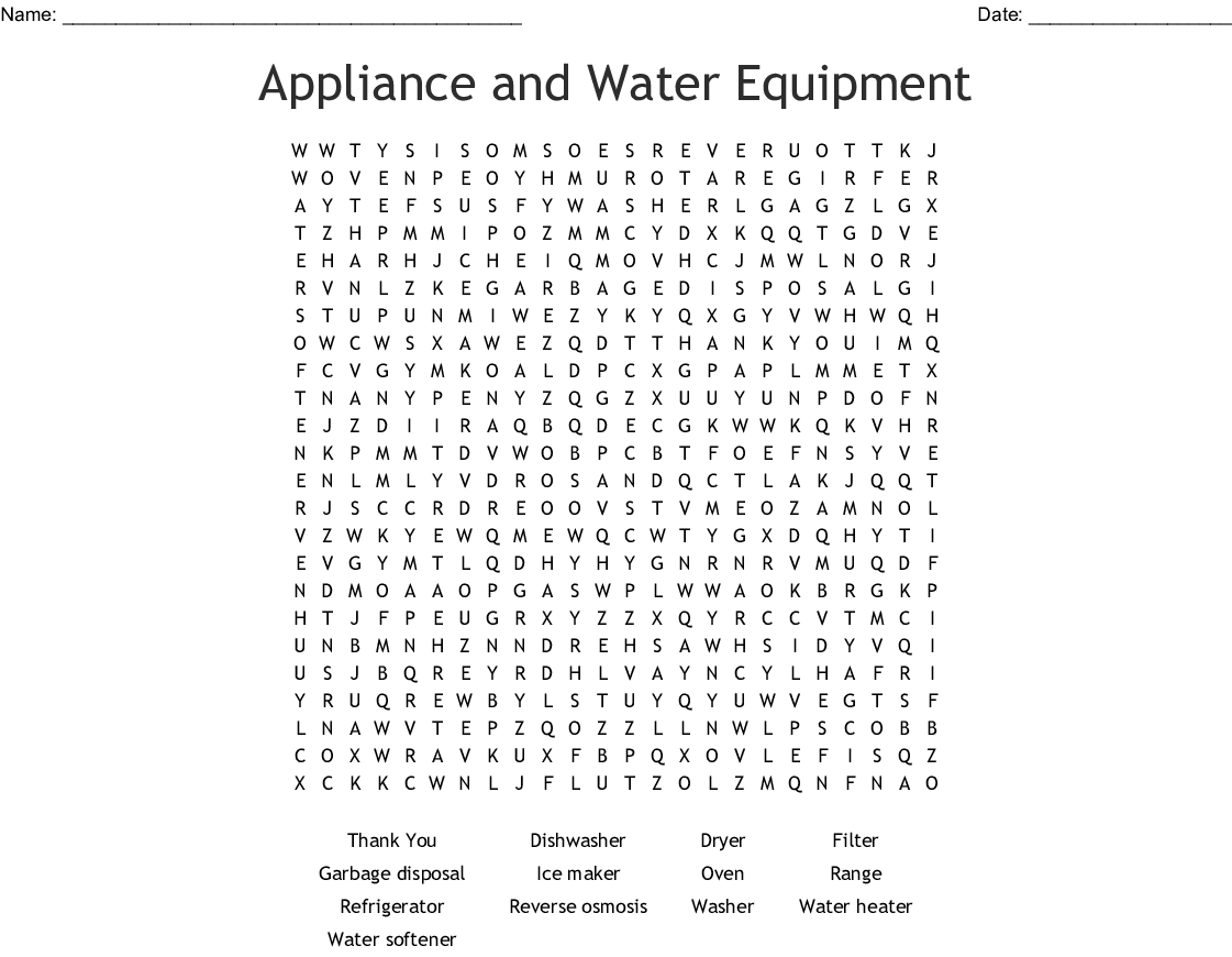 Home Appliances Crosswords, Word Searches, Bingo Cards