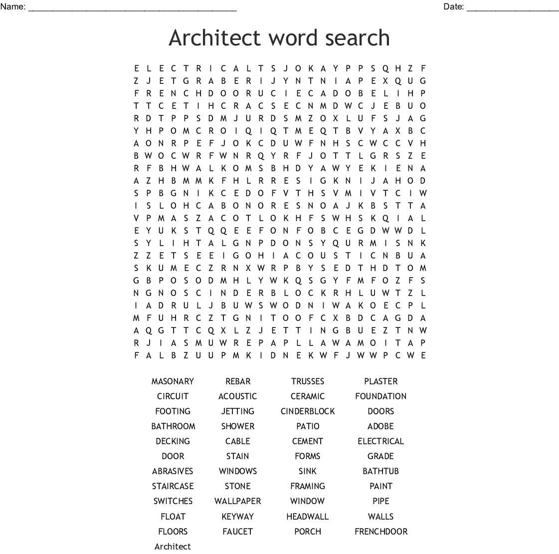 Architecture And Construction Word Search Wordmint