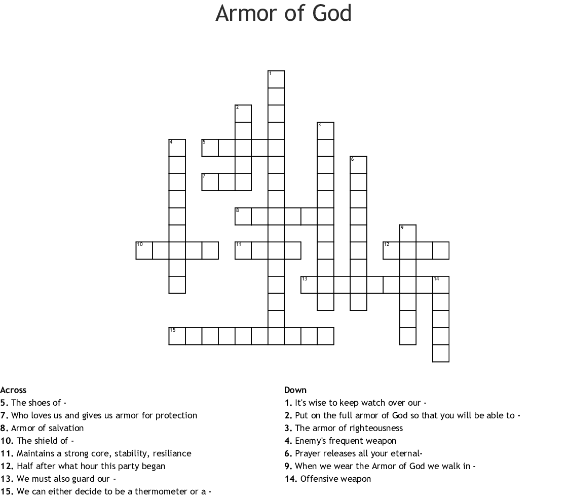 photo relating to Printable Armor of God Worksheets called Armor of God Crossword - WordMint
