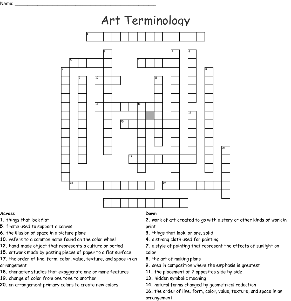 Art Terms Word Search - WordMint